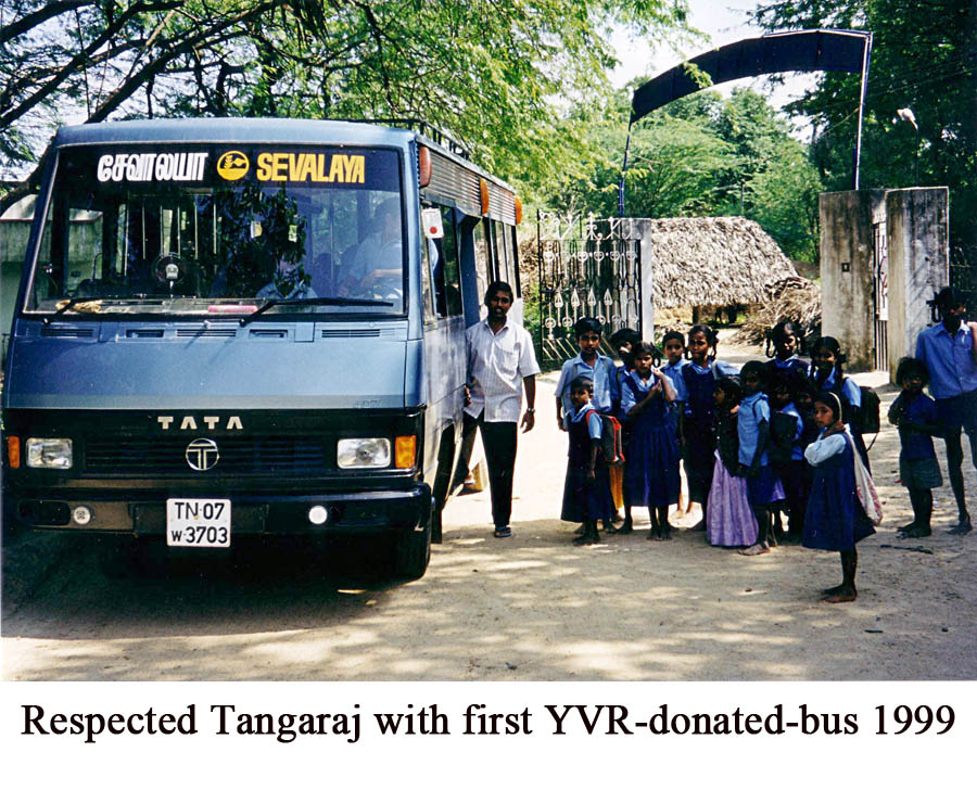 Respected Tangaraj with first YVR-donated-bus 1999